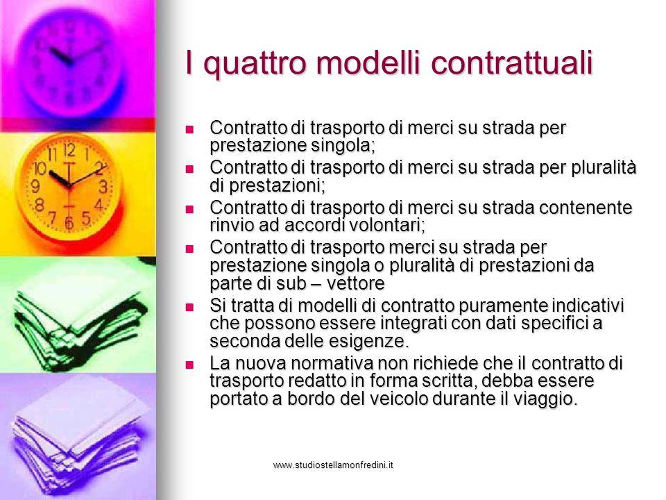 www.studiostellamonfredini.it I quattro modelli contrattuali Contratto di trasporto di merci su strada per prestazione singola; Contratto di trasporto