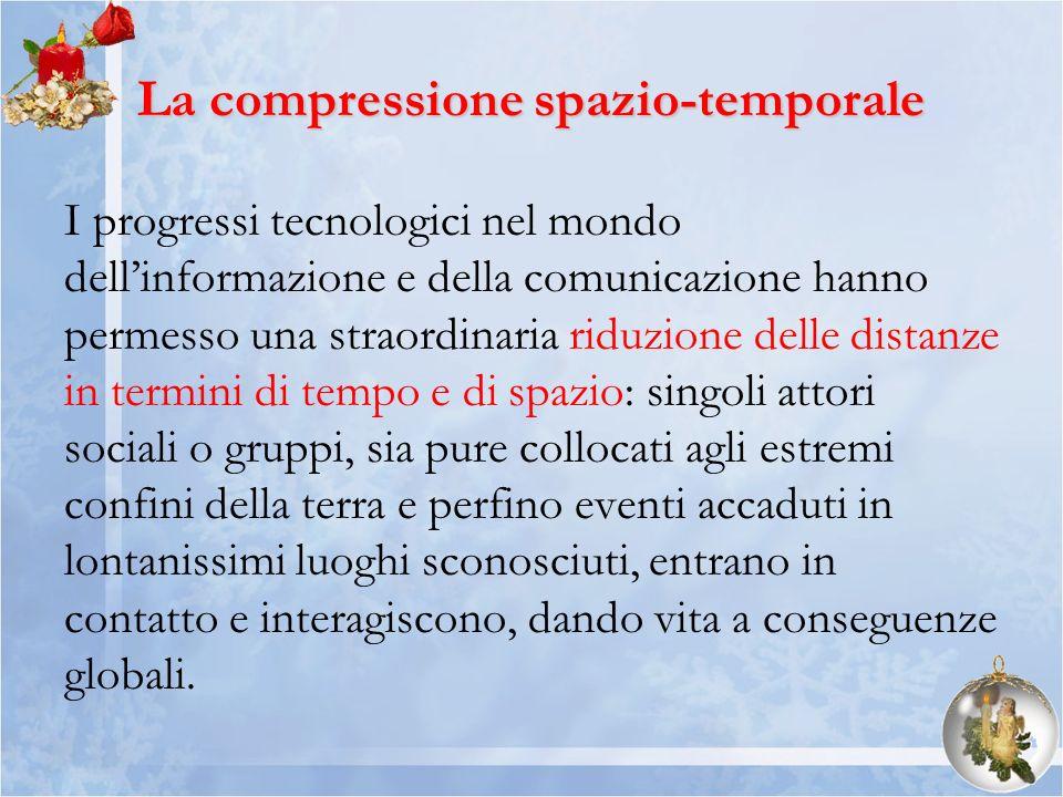La compressione spazio-temporale I progressi tecnologici nel mondo dellinformazione e della comunicazione hanno permesso una straordinaria riduzione d