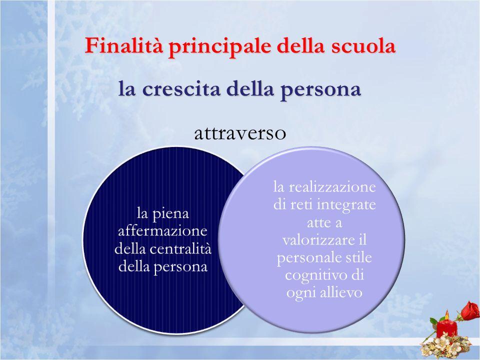 Finalità principale della scuola la crescita della persona Finalità principale della scuola la crescita della persona attraverso la piena affermazione