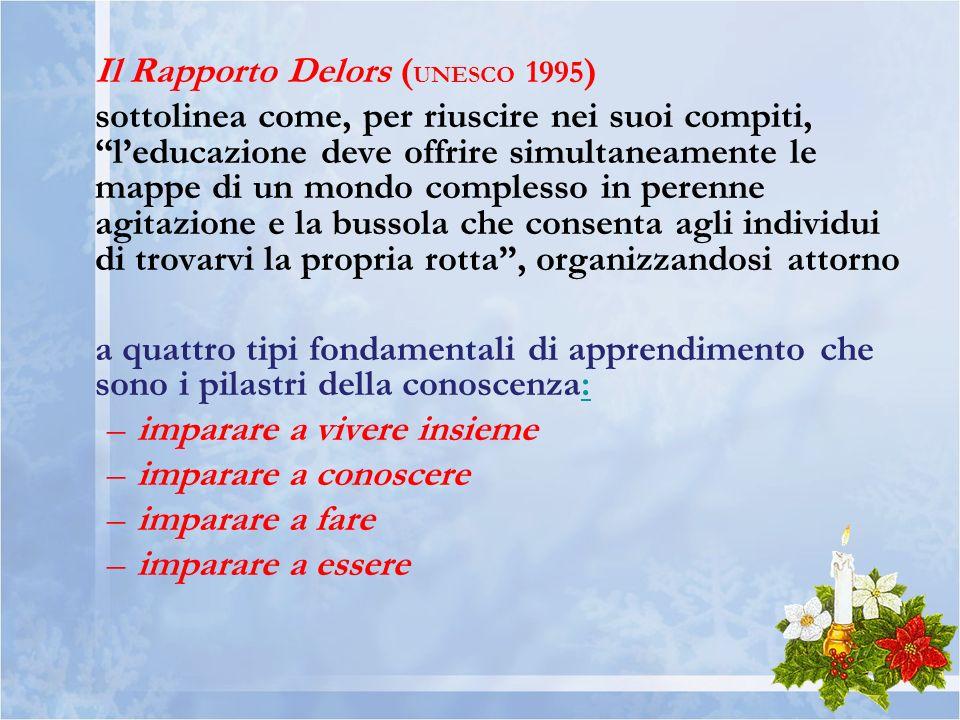 Il Rapporto Delors ( UNESCO 1995 ) sottolinea come, per riuscire nei suoi compiti, leducazione deve offrire simultaneamente le mappe di un mondo compl