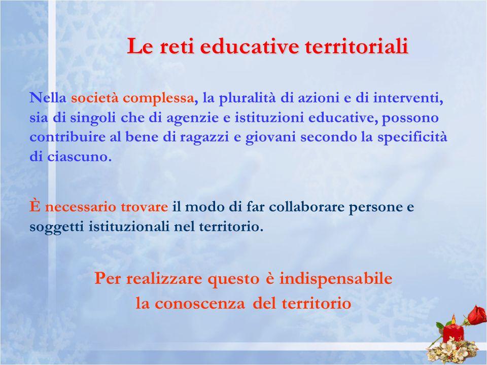 Le reti educative territoriali Nella società complessa, la pluralità di azioni e di interventi, sia di singoli che di agenzie e istituzioni educative, possono contribuire al bene di ragazzi e giovani secondo la specificità di ciascuno.