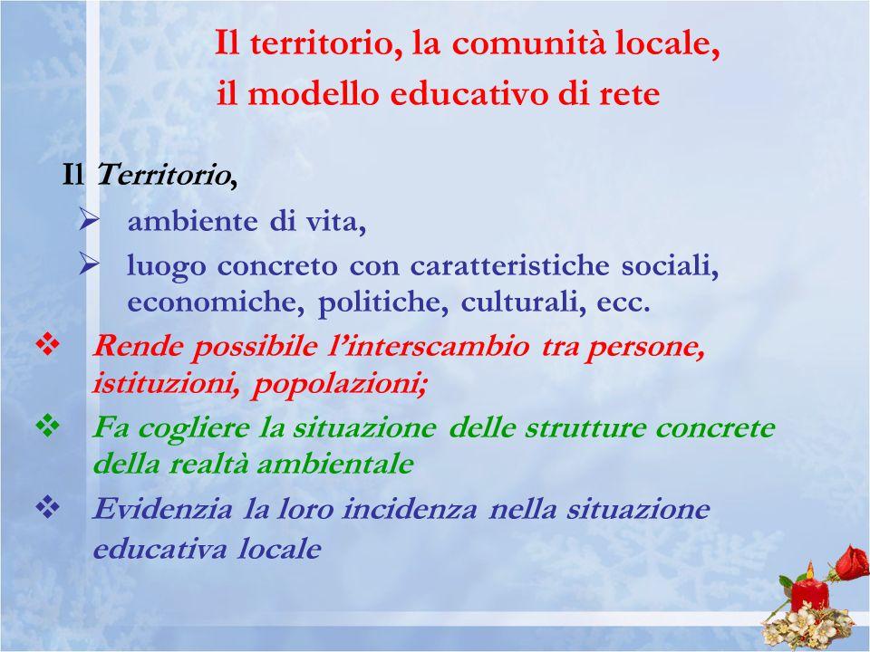 Il territorio, la comunità locale, il modello educativo di rete Il Territorio, ambiente di vita, luogo concreto con caratteristiche sociali, economiche, politiche, culturali, ecc.