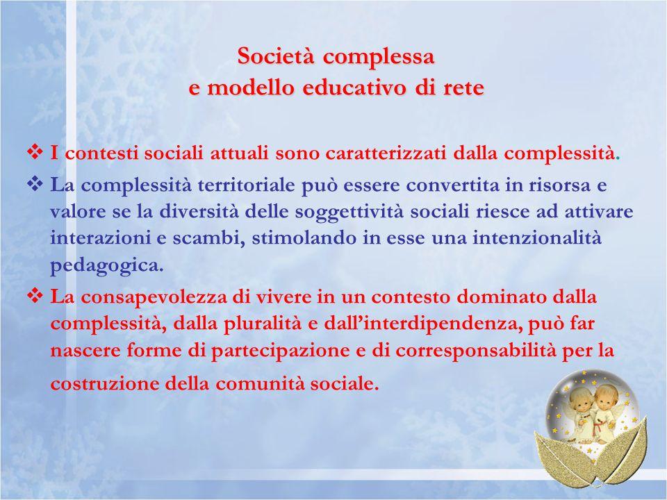 Società complessa e modello educativo di rete I contesti sociali attuali sono caratterizzati dalla complessità. La complessità territoriale può essere
