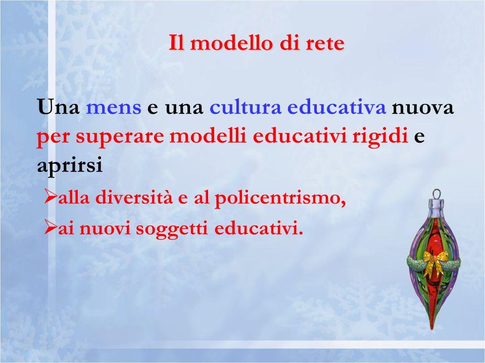 Il modello di rete Una mens e una cultura educativa nuova per superare modelli educativi rigidi e aprirsi alla diversità e al policentrismo, ai nuovi soggetti educativi.