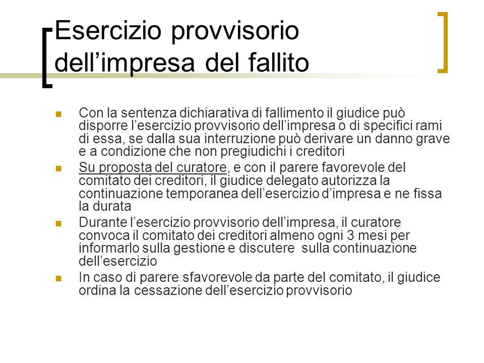 Esercizio provvisorio dellimpresa del fallito Con la sentenza dichiarativa di fallimento il giudice può disporre lesercizio provvisorio dellimpresa o