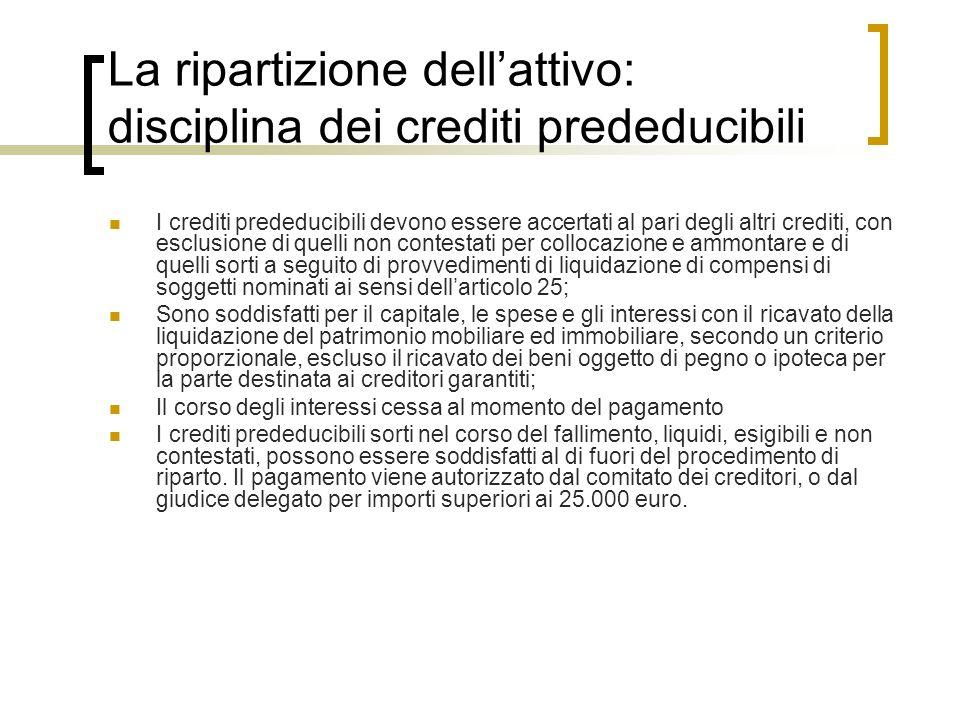 La ripartizione dellattivo: disciplina dei crediti prededucibili I crediti prededucibili devono essere accertati al pari degli altri crediti, con escl