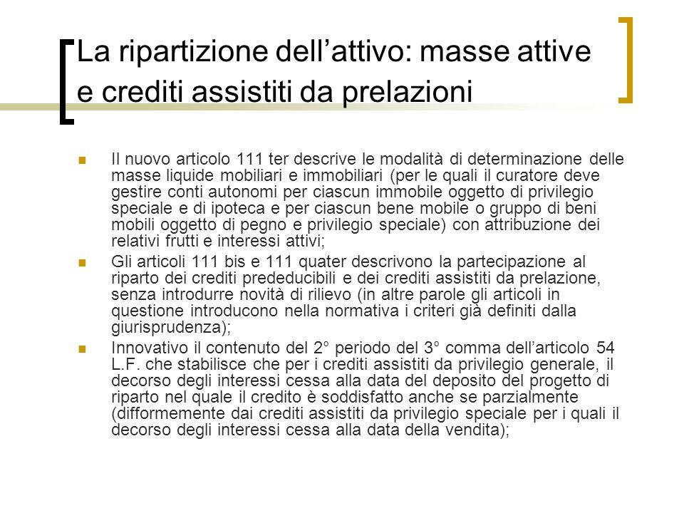 La ripartizione dellattivo: masse attive e crediti assistiti da prelazioni Il nuovo articolo 111 ter descrive le modalità di determinazione delle mass