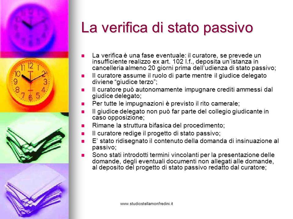 www.studiostellamonfredini.it La verifica di stato passivo La verifica è una fase eventuale: il curatore, se prevede un insufficiente realizzo ex art.