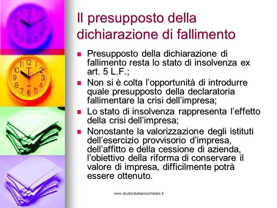 www.studiostellamonfredini.it Il presupposto della dichiarazione di fallimento Presupposto della dichiarazione di fallimento resta lo stato di insolvenza ex art.