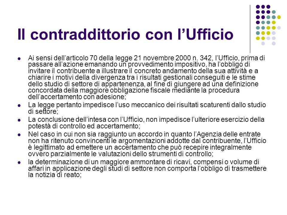 Il contraddittorio con lUfficio Ai sensi dellarticolo 70 della legge 21 novembre 2000 n.