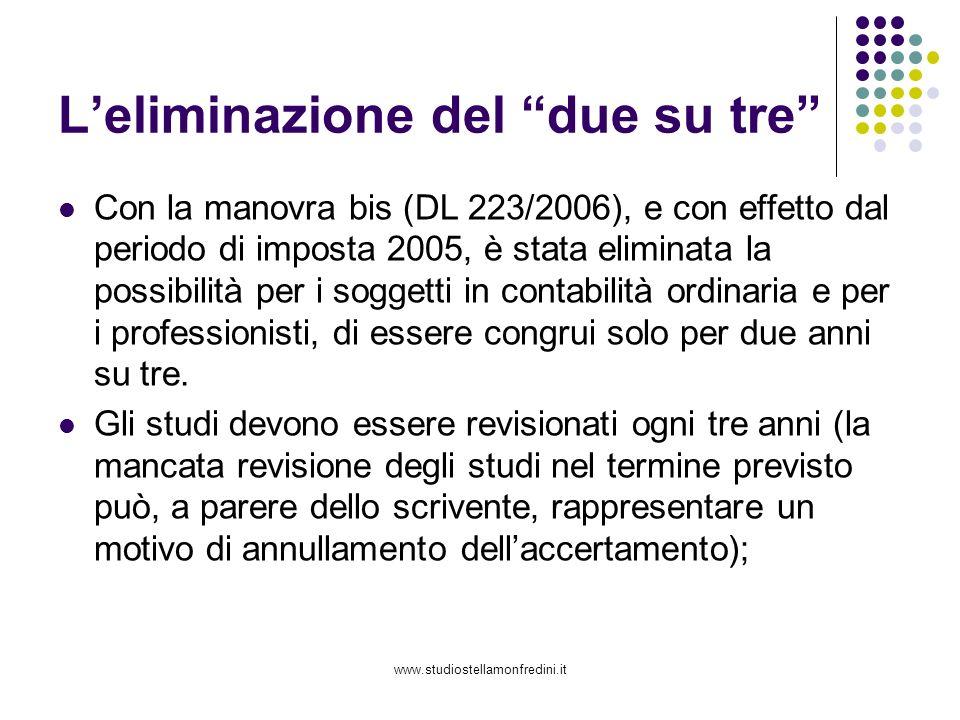 www.studiostellamonfredini.it Leliminazione del due su tre Con la manovra bis (DL 223/2006), e con effetto dal periodo di imposta 2005, è stata eliminata la possibilità per i soggetti in contabilità ordinaria e per i professionisti, di essere congrui solo per due anni su tre.