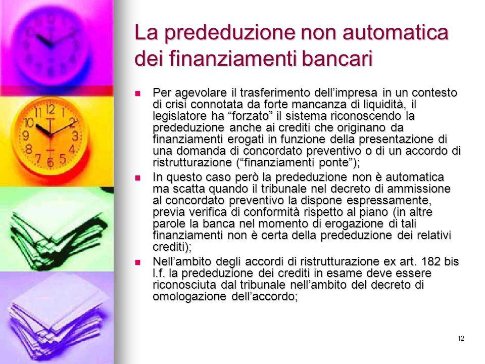 12 La prededuzione non automatica dei finanziamenti bancari Per agevolare il trasferimento dellimpresa in un contesto di crisi connotata da forte manc