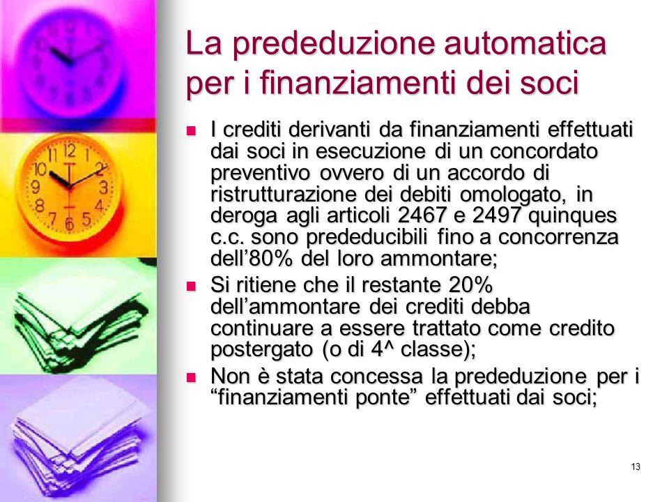 13 La prededuzione automatica per i finanziamenti dei soci I crediti derivanti da finanziamenti effettuati dai soci in esecuzione di un concordato pre