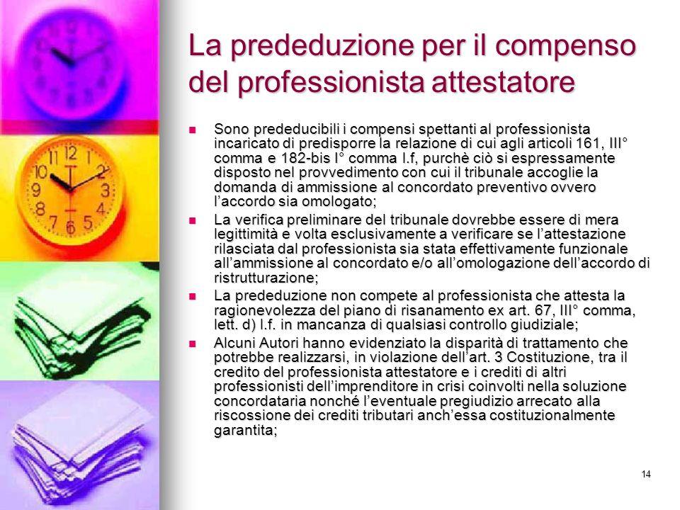 14 La prededuzione per il compenso del professionista attestatore Sono prededucibili i compensi spettanti al professionista incaricato di predisporre
