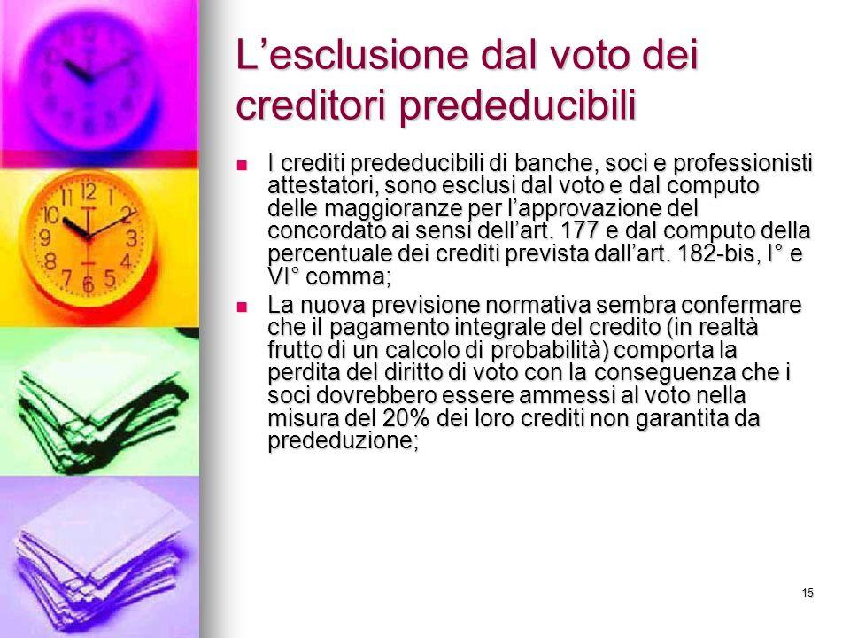 15 Lesclusione dal voto dei creditori prededucibili I crediti prededucibili di banche, soci e professionisti attestatori, sono esclusi dal voto e dal