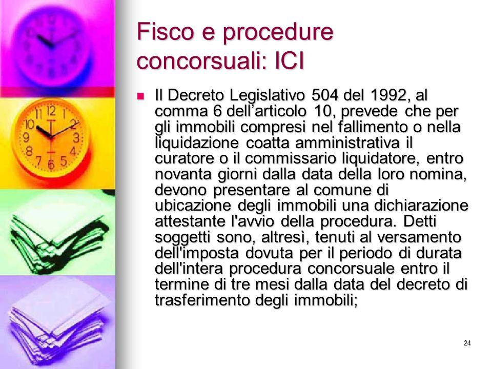 24 Fisco e procedure concorsuali: ICI Il Decreto Legislativo 504 del 1992, al comma 6 dellarticolo 10, prevede che per gli immobili compresi nel falli