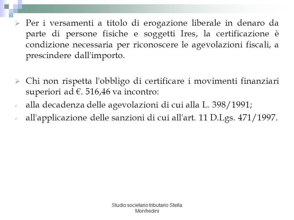 Studio societario tributario Stella Monfredini Per i versamenti a titolo di erogazione liberale in denaro da parte di persone fisiche e soggetti Ires,