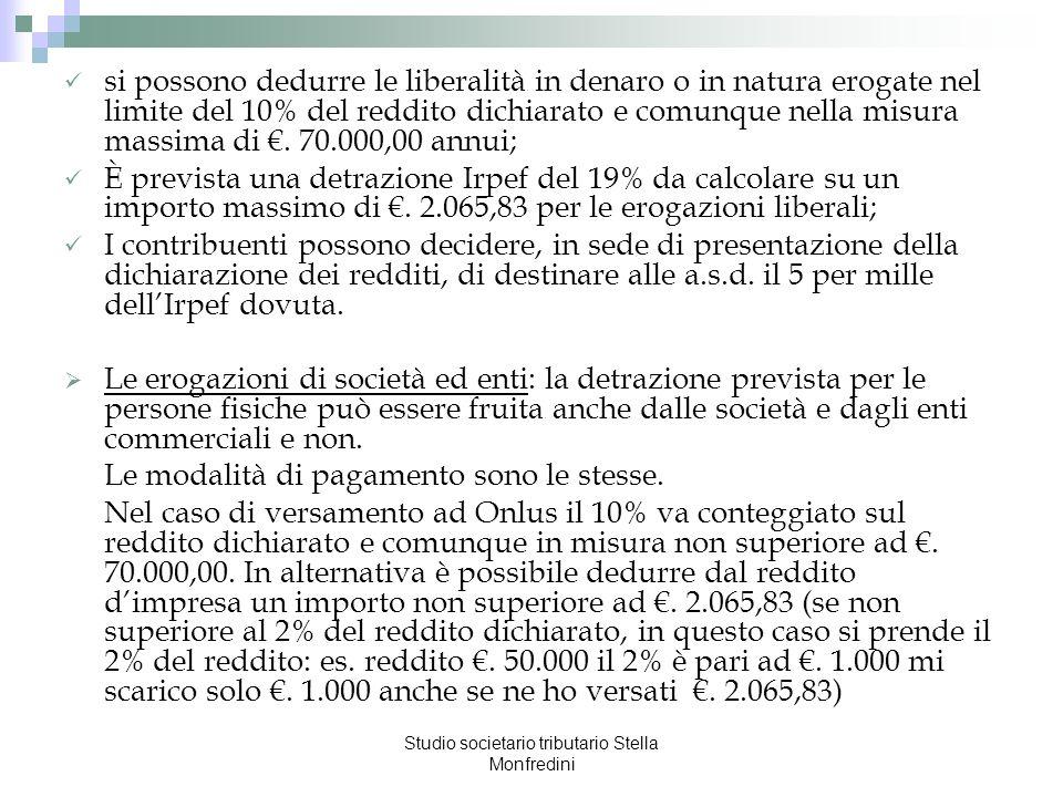 Studio societario tributario Stella Monfredini si possono dedurre le liberalità in denaro o in natura erogate nel limite del 10% del reddito dichiarat