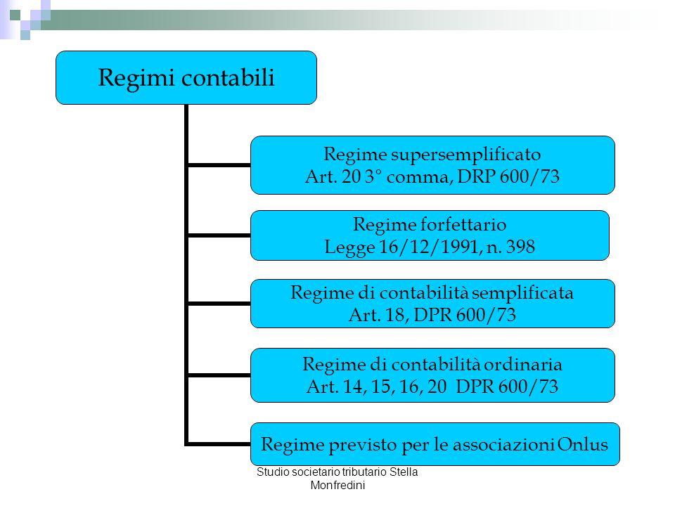 Studio societario tributario Stella Monfredini Regimi contabili Regime supersemplificato Art. 20 3° comma, DRP 600/73 Regime forfettario Legge 16/12/1