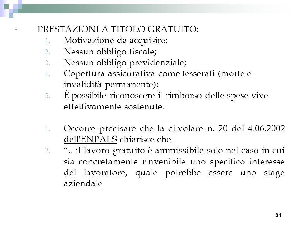 31 PRESTAZIONI A TITOLO GRATUITO: 1. Motivazione da acquisire; 2. Nessun obbligo fiscale; 3. Nessun obbligo previdenziale; 4. Copertura assicurativa c