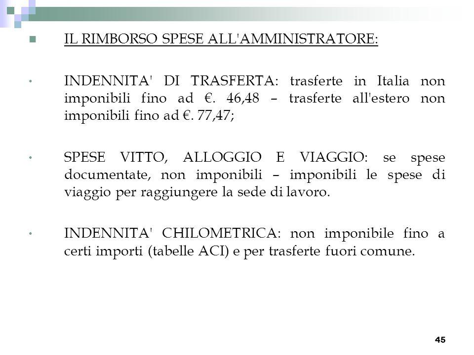 45 IL RIMBORSO SPESE ALL'AMMINISTRATORE: INDENNITA' DI TRASFERTA: trasferte in Italia non imponibili fino ad. 46,48 – trasferte all'estero non imponib