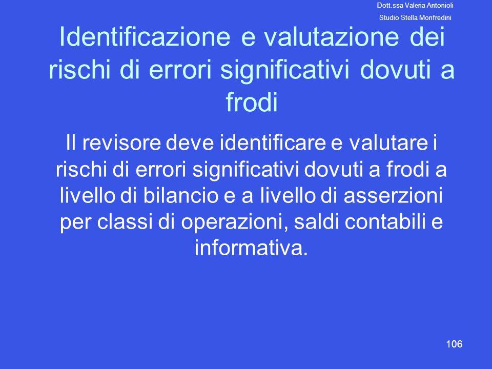 106 Identificazione e valutazione dei rischi di errori significativi dovuti a frodi Il revisore deve identificare e valutare i rischi di errori signif