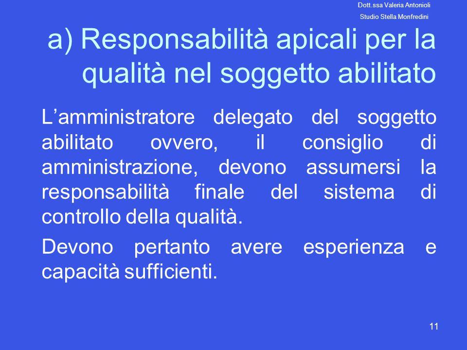 11 a) Responsabilità apicali per la qualità nel soggetto abilitato Lamministratore delegato del soggetto abilitato ovvero, il consiglio di amministraz