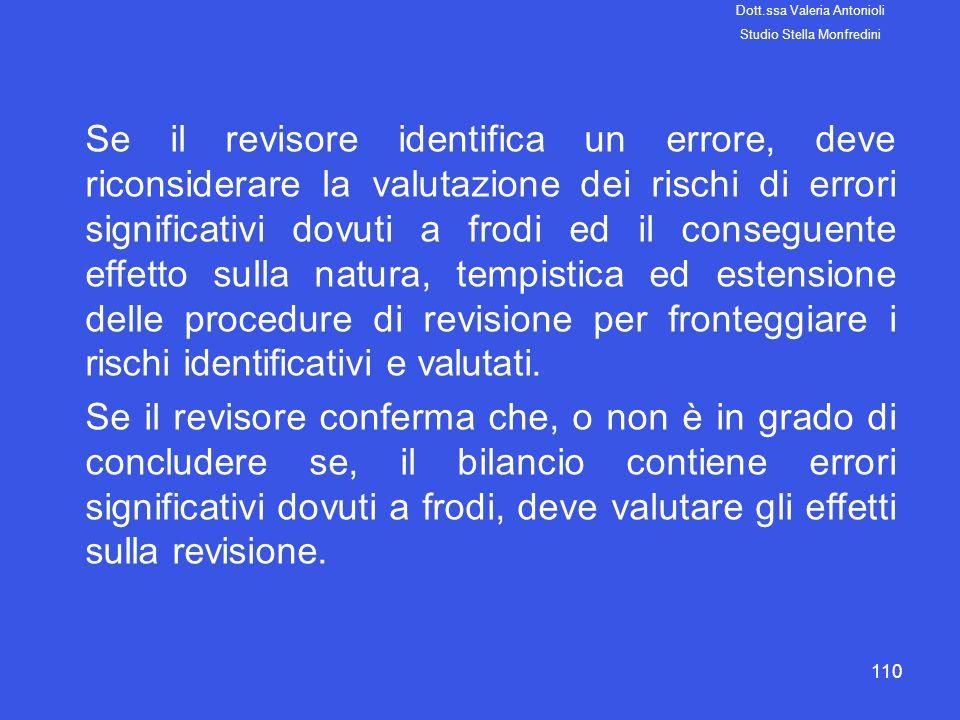 110 Se il revisore identifica un errore, deve riconsiderare la valutazione dei rischi di errori significativi dovuti a frodi ed il conseguente effetto