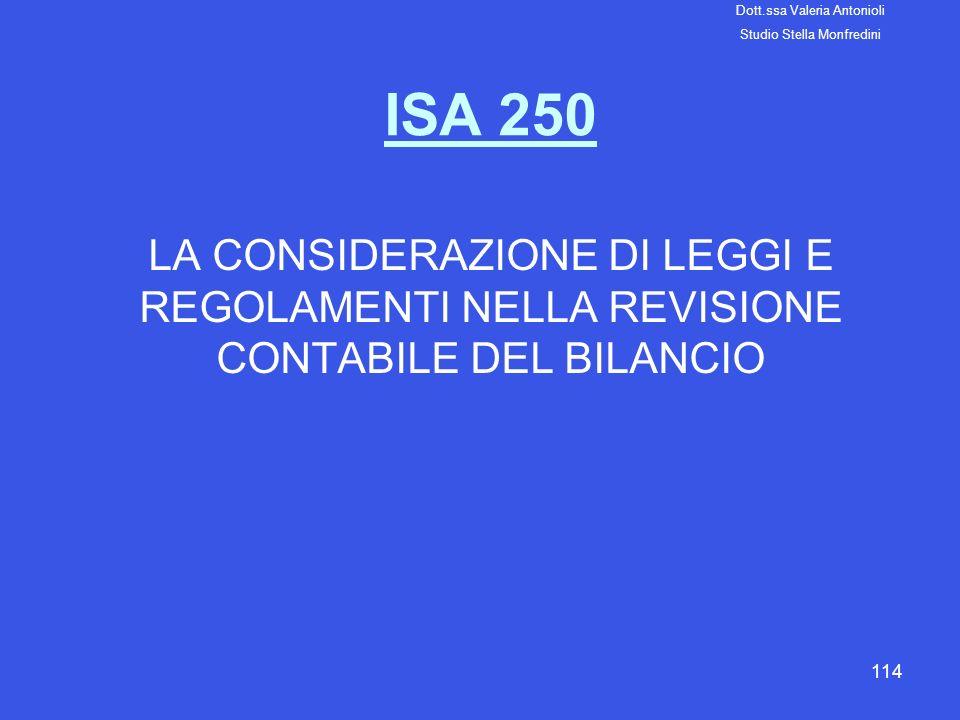 114 ISA 250 LA CONSIDERAZIONE DI LEGGI E REGOLAMENTI NELLA REVISIONE CONTABILE DEL BILANCIO Dott.ssa Valeria Antonioli Studio Stella Monfredini