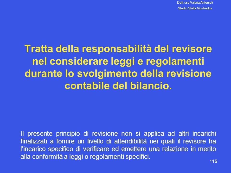 115 Tratta della responsabilità del revisore nel considerare leggi e regolamenti durante lo svolgimento della revisione contabile del bilancio. Il pre