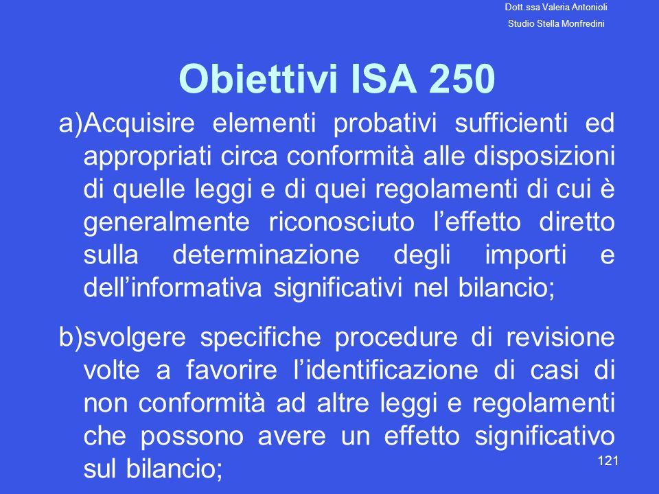 121 Obiettivi ISA 250 a)Acquisire elementi probativi sufficienti ed appropriati circa conformità alle disposizioni di quelle leggi e di quei regolamen
