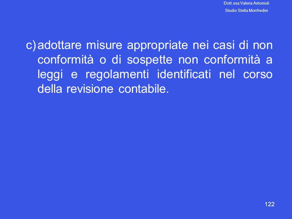 122 c)adottare misure appropriate nei casi di non conformità o di sospette non conformità a leggi e regolamenti identificati nel corso della revisione