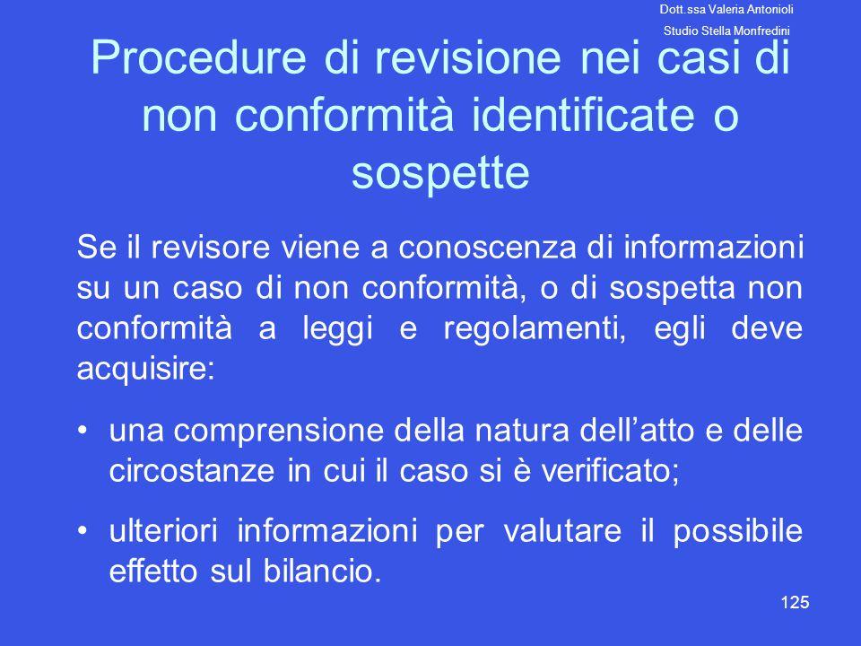 125 Procedure di revisione nei casi di non conformità identificate o sospette Se il revisore viene a conoscenza di informazioni su un caso di non conf
