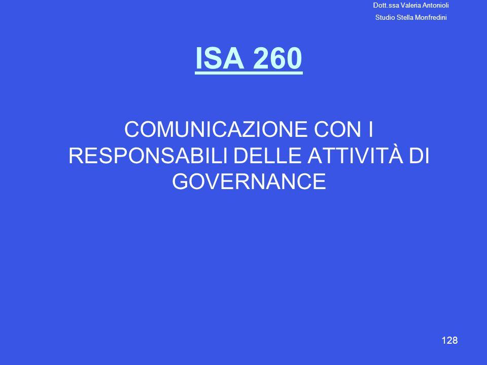 128 ISA 260 COMUNICAZIONE CON I RESPONSABILI DELLE ATTIVITÀ DI GOVERNANCE Dott.ssa Valeria Antonioli Studio Stella Monfredini