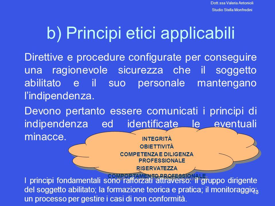 13 b) Principi etici applicabili Direttive e procedure configurate per conseguire una ragionevole sicurezza che il soggetto abilitato e il suo persona