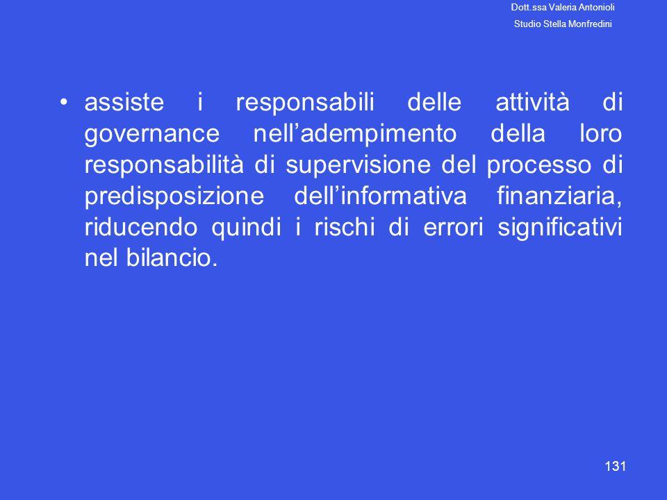 131 assiste i responsabili delle attività di governance nelladempimento della loro responsabilità di supervisione del processo di predisposizione dell