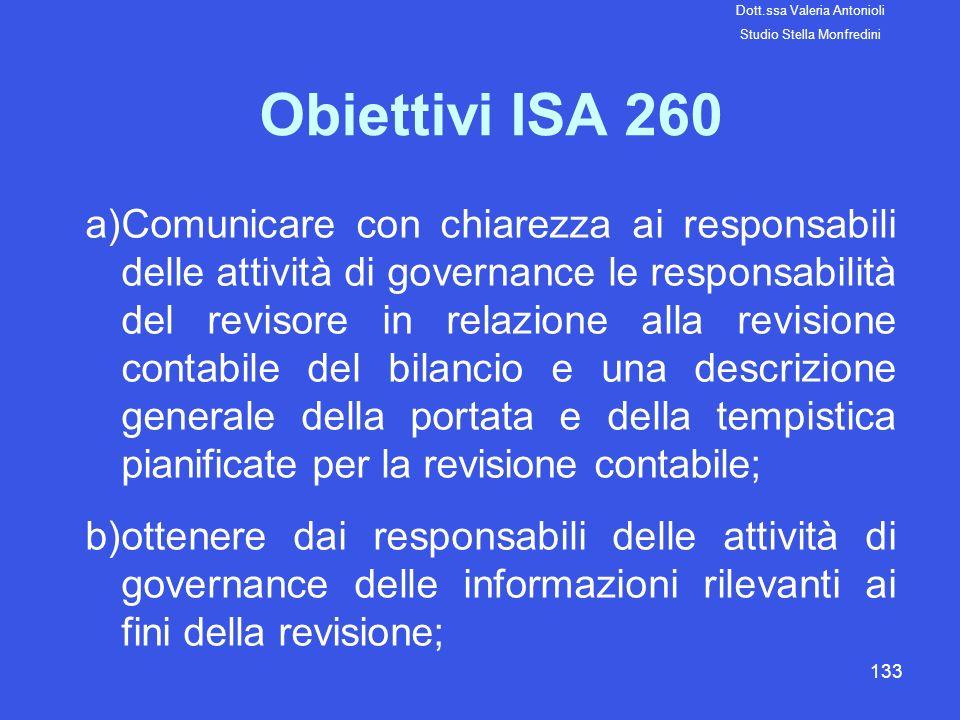 133 Obiettivi ISA 260 a)Comunicare con chiarezza ai responsabili delle attività di governance le responsabilità del revisore in relazione alla revisio