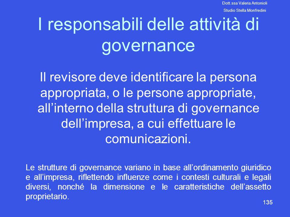 135 I responsabili delle attività di governance Il revisore deve identificare la persona appropriata, o le persone appropriate, allinterno della strut
