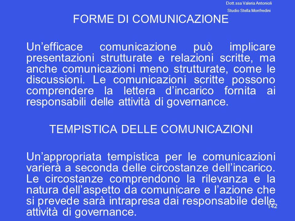 142 FORME DI COMUNICAZIONE Unefficace comunicazione può implicare presentazioni strutturate e relazioni scritte, ma anche comunicazioni meno struttura