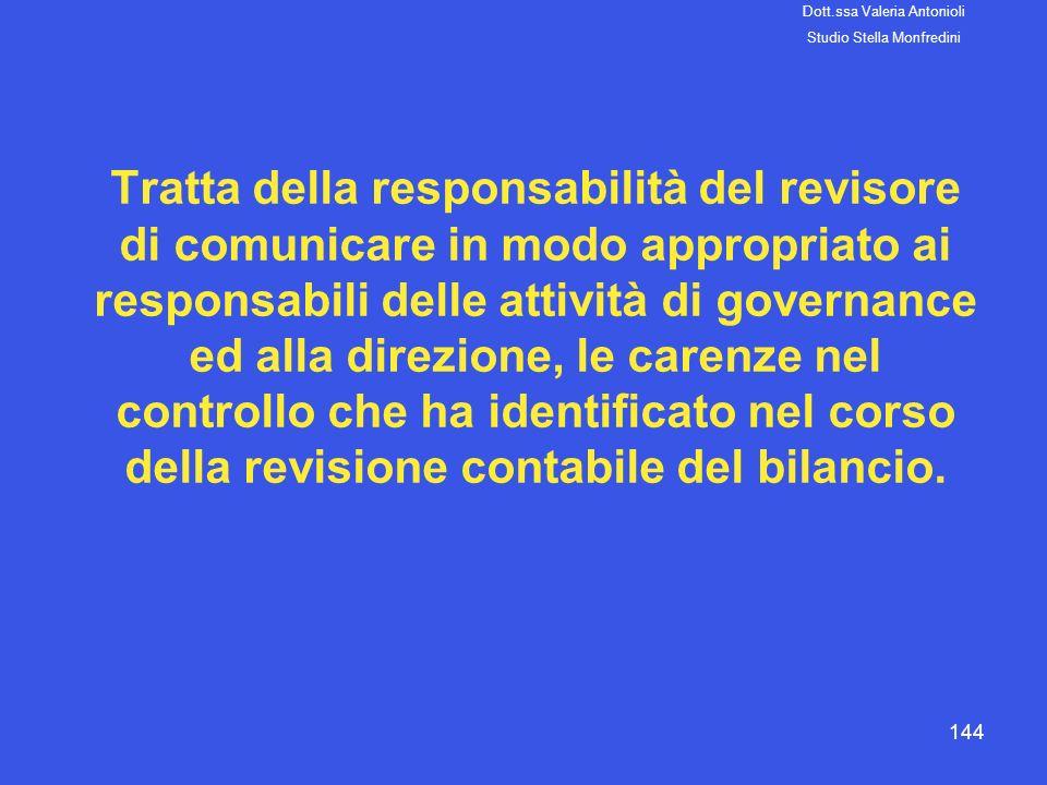 144 Tratta della responsabilità del revisore di comunicare in modo appropriato ai responsabili delle attività di governance ed alla direzione, le care