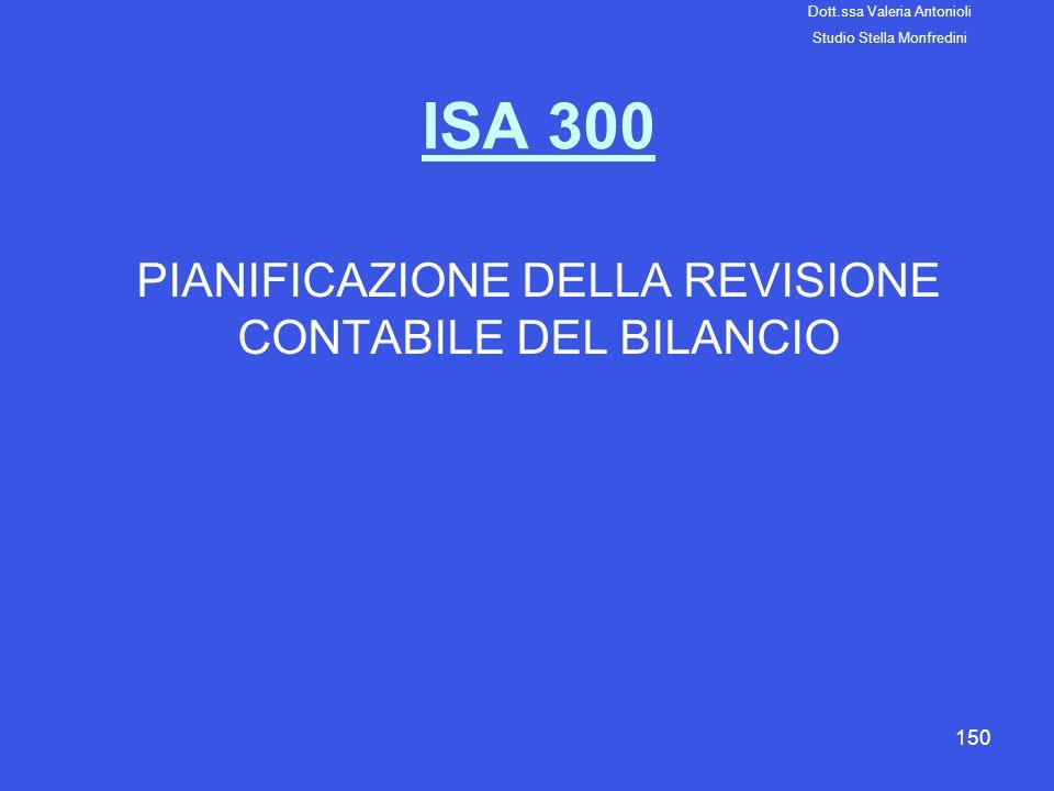 150 ISA 300 PIANIFICAZIONE DELLA REVISIONE CONTABILE DEL BILANCIO Dott.ssa Valeria Antonioli Studio Stella Monfredini