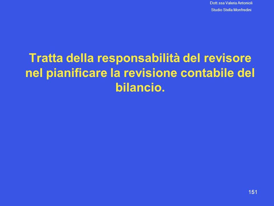 151 Tratta della responsabilità del revisore nel pianificare la revisione contabile del bilancio. Dott.ssa Valeria Antonioli Studio Stella Monfredini