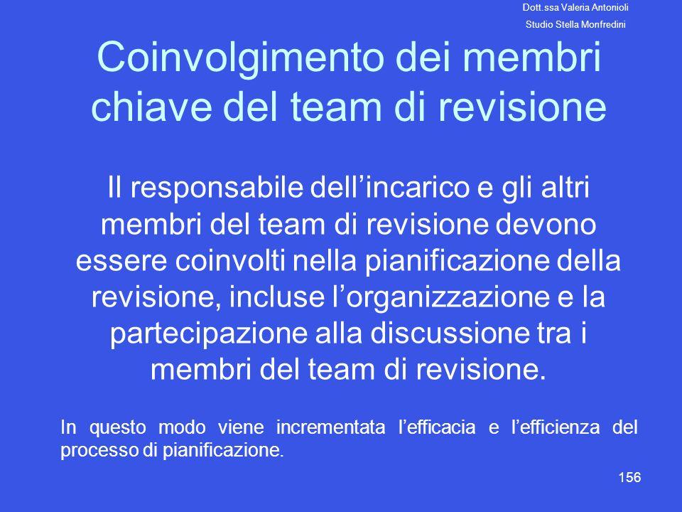 156 Coinvolgimento dei membri chiave del team di revisione Il responsabile dellincarico e gli altri membri del team di revisione devono essere coinvol