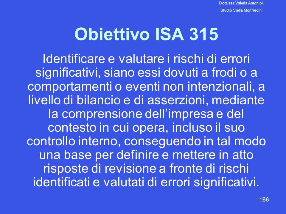 166 Obiettivo ISA 315 Identificare e valutare i rischi di errori significativi, siano essi dovuti a frodi o a comportamenti o eventi non intenzionali,