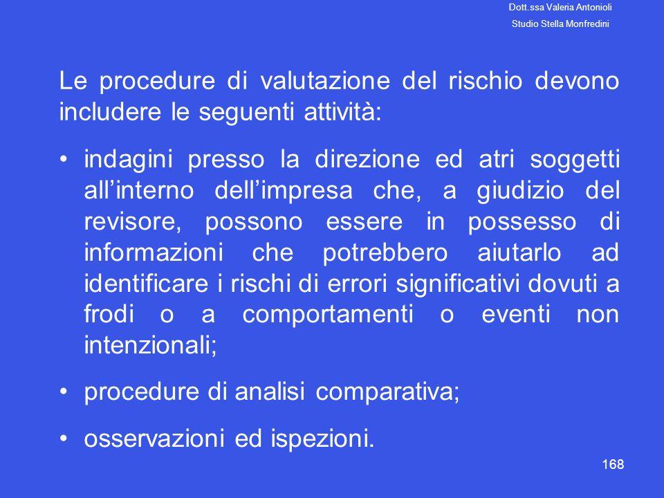 168 Le procedure di valutazione del rischio devono includere le seguenti attività: indagini presso la direzione ed atri soggetti allinterno dellimpres