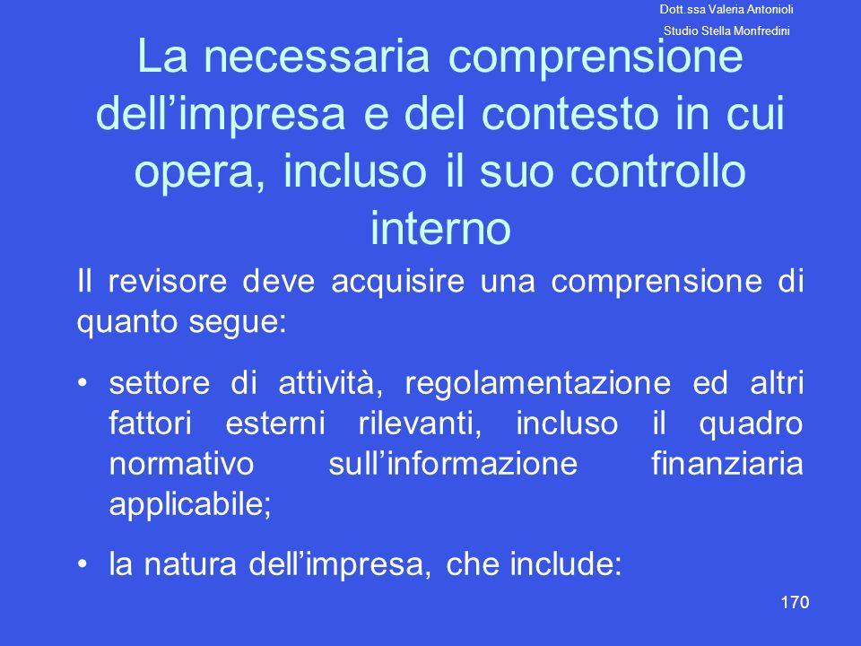 170 La necessaria comprensione dellimpresa e del contesto in cui opera, incluso il suo controllo interno Il revisore deve acquisire una comprensione d