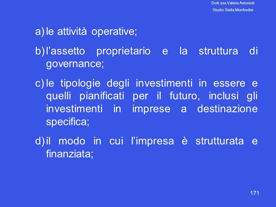 171 a)le attività operative; b)lassetto proprietario e la struttura di governance; c)le tipologie degli investimenti in essere e quelli pianificati pe