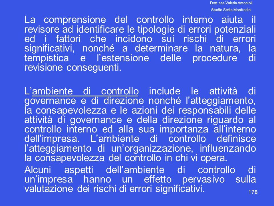 178 La comprensione del controllo interno aiuta il revisore ad identificare le tipologie di errori potenziali ed i fattori che incidono sui rischi di