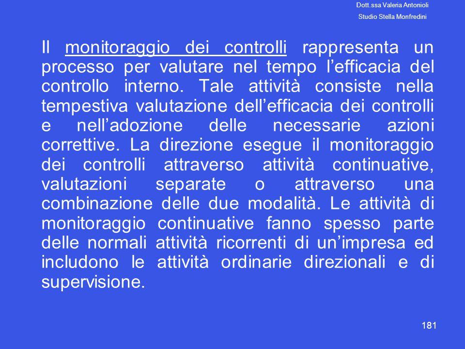 181 Il monitoraggio dei controlli rappresenta un processo per valutare nel tempo lefficacia del controllo interno. Tale attività consiste nella tempes