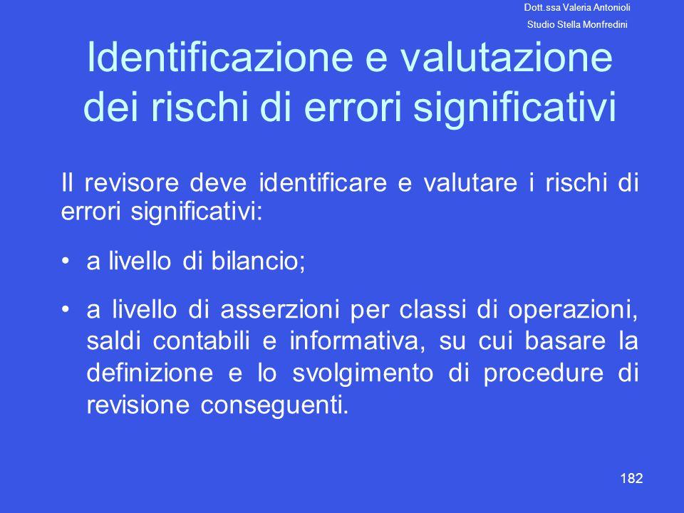 182 Identificazione e valutazione dei rischi di errori significativi a livello di bilancio; a livello di asserzioni per classi di operazioni, saldi co